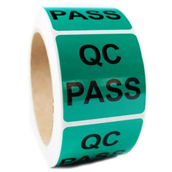 "Glossy Green ""QC Pass"" Sticker Label - 2"" by 2"" - 500 ct"