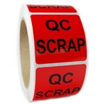 "Glossy Red ""QC Scrap"" Sticker Label - 2"" by 2"" - 500 ct"