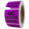 "Glossy Purple ""QC Rework Repair"" Sticker Label - 2"" by 2"" - 500 ct"