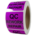 "Purple Glossy ""QC Rework Repair"" Sticker Label - 2"" by 2"" - 500 ct"
