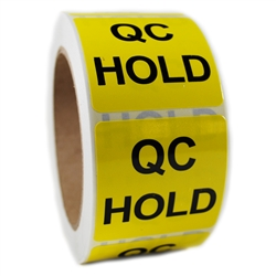 "Glossy Yellow ""QC Hold"" Sticker Label - 2"" by 2"" - 500 ct"