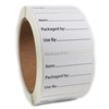 "White ""Item:; Packaged by:; Use by:"" Product Sticker Label - 2"" by 1.625"" - 500 ct"