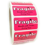 "Pink Glossy ""Fragile Handle with Tender Loving Care"" Label - 1"" by 2"" - 1000 ct"