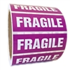 "Purple and White ""Fragile"" Sticker Label - 1"" by 3"" - 500 ct"