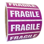 "Purple and White Glossy ""Fragile"" Sticker Label - 1"" by 3"" - 500 ct"