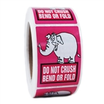 "Pink Elephant Glossy ""Do Not Crush Bend or Fold"" Stickers - 3"" by 2"" - 500 ct"