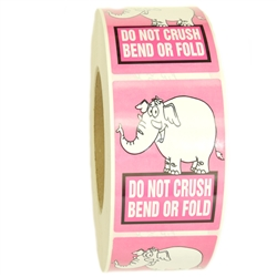 "Pink Elephant ""Do Not Crush Bend or Fold"" Stickers - 3"" by 2"" - 1000 ct"
