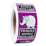 "Purple Elephant ""Fragile Handle with Care"" Stickers - 3"" by 2"" - 500 ct"