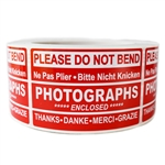 "Red Glossy ""Photographs"" Multilingual Labels Stickers - 2"" by 3"" - 500 ct Roll"