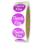 "Purple Glossy ""Thank You"" Labels Stickers - 1"" diameter - 500 ct Roll"