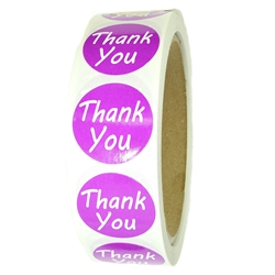 "Purple ""Thank You"" Labels Stickers - 1"" diameter - 500 ct Roll - SL072F"