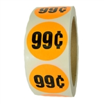 "Fluorescent Orange ""99¢"" Labels Stickers - 1.5"" diameter - 500 ct Roll"