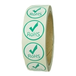 "Glossy Green and White ""RoHS"" Label with Check Mark - 1"" diameter - 500 ct"