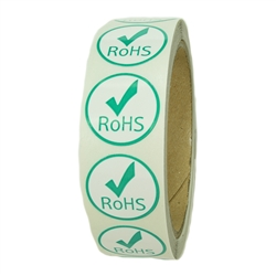 "Green and White ""RoHS"" Label with Check Mark - 1"" diameter - 500 ct"