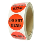 "Glossy Red and Black ""Do Not Bend"" Stickers - 1.5"" diameter - 500 ct Roll"