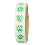 "Green, White and Black Radura Stickers - 0.625"" diameter - 500 ct Roll"