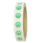 "Green, White and Black Radura Stickers - 0.625"" diameter - 1000 ct Roll"