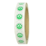 "Green, White and Black Radura Stickers - 0.625"" diameter - 2500 ct Roll"