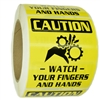 "Glossy ""Caution Watch Your Fingers and Hands"" Stickers - 2.75"" by 3.15"" - 500 ct Roll"