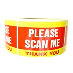 "Yellow and Red ""Please Scan Me Thank You"" Stickers - 3"" by 2"" - 500 ct"