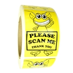 "Glossy Yellow Alien ""Please Scan Me Thank You"" Labels Stickers 3"" by 2"" - 500 ct"