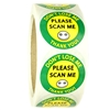 "Yellow and Green ""Please Scan Me Don't Lose Me"" Stickers 1.5"" diameter - 500 ct Roll"