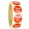 "Glossy Red ""Thank You"" Stickers - 1"" diameter - 500 ct Roll"