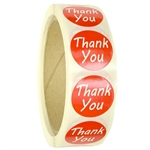 "Red ""Thank You"" Labels Stickers - 1"" diameter - 500 ct Roll"