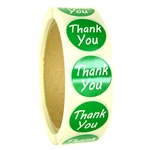 "Glossy Green ""Thank You"" Stickers - 1"" diameter - 500 ct Roll"