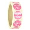 "Glossy Pink ""Thank You"" Stickers - 1"" diameter - 500 ct Roll"