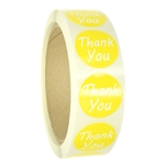 "Glossy Yellow ""Thank You"" Stickers - 1"" diameter - 500 ct Roll"