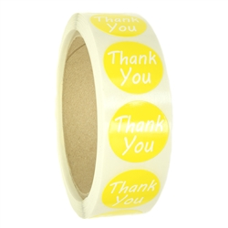 "Yellow ""Thank You"" Labels Stickers - 1"" diameter - 500 ct Roll"