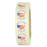 "Glossy American Flag Map ""Proudly Made in the USA"" Stickers - 1"" diameter - 1000 ct Roll"