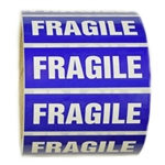 "Blue and White ""Fragile"" Sticker Label - 1"" by 3"" - 500 ct"