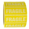 "Yellow and White ""Fragile"" Sticker Label - 1"" by 3"" - 500 ct"