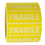 "Glossy Yellow and White ""Fragile"" Sticker - 1"" by 3"" - 500 ct"