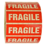 "Glossy Red and White ""Fragile"" Sticker - 1"" by 3"" - 500 ct"