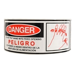 "Glossy Red and Black ""Danger Do Not Put Hand Into Feed Opening"""" Sticker - 2.5"" by 7"" - 500 ct"