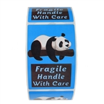 "Glossy Blue Panda ""Fragile Handle with Care"" Stickers - 3"" by 2"" - 500 ct"
