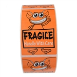 "Glossy Orange Alien ""Fragile Handle with Care"" Stickers - 3"" by 2"" - 500 ct"