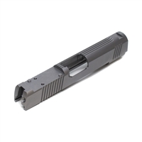 1911 9mm Stainless Commander Slide Front, Rear and Top Serration Slab Side Delta Point