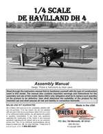 1/4 Scale DeHavilland DH4 Plans and Instruction Manual