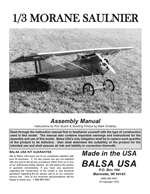 1/3 Scale Morane Saulnier Plans and Instruction Manual