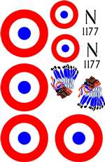 1/6 Scale Nieuport 17 Vinyl Decal Set