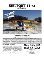 1/4 Scale Nieuport 11 Instruction Manual only