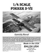 1/4 Scale Fokker D-7 Instruction Manual only