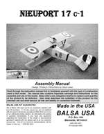 1/4 Scale Nieuport 17 Instruction Manual only