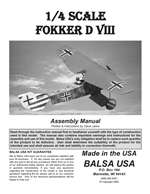 1/4 Scale Fokker D-8 Instruction Manual only