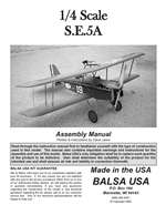 1/4 Scale S.E.5a Instruction Manual only