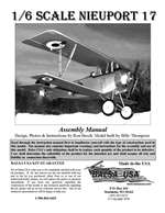 1/6 Scale Nieuport 17 Instruction Manual only